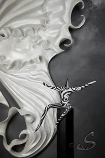 """Décor mural (détail) et sculpture collection """"Les Pas Pareils"""""""