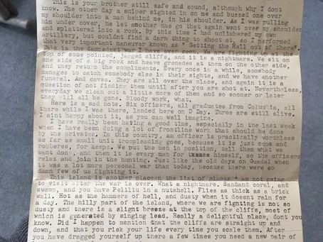 A 1944 letter from a soldier fighting in the South Pacific
