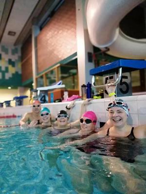 Vierailulla Euran uimahallissa.