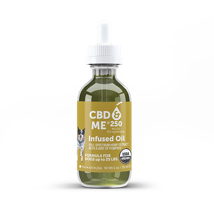 Organic CBD & Me Hemp Oil for Dogs Pumpkin Flavor 250 MG/OZ