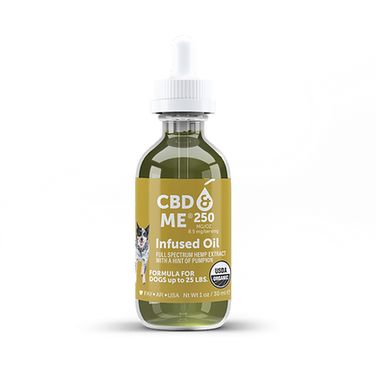 CBD & Me: Organic Oil with Hemp Extract for Dogs - Pumpkin 250 mg/oz