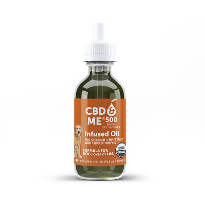 Organic CBD & Me Hemp Oil for Dogs Pumpkin Flavor 500 MG/OZ