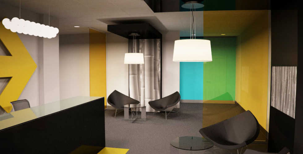 Diseño y decoración de recepción en oficina en Madrid.