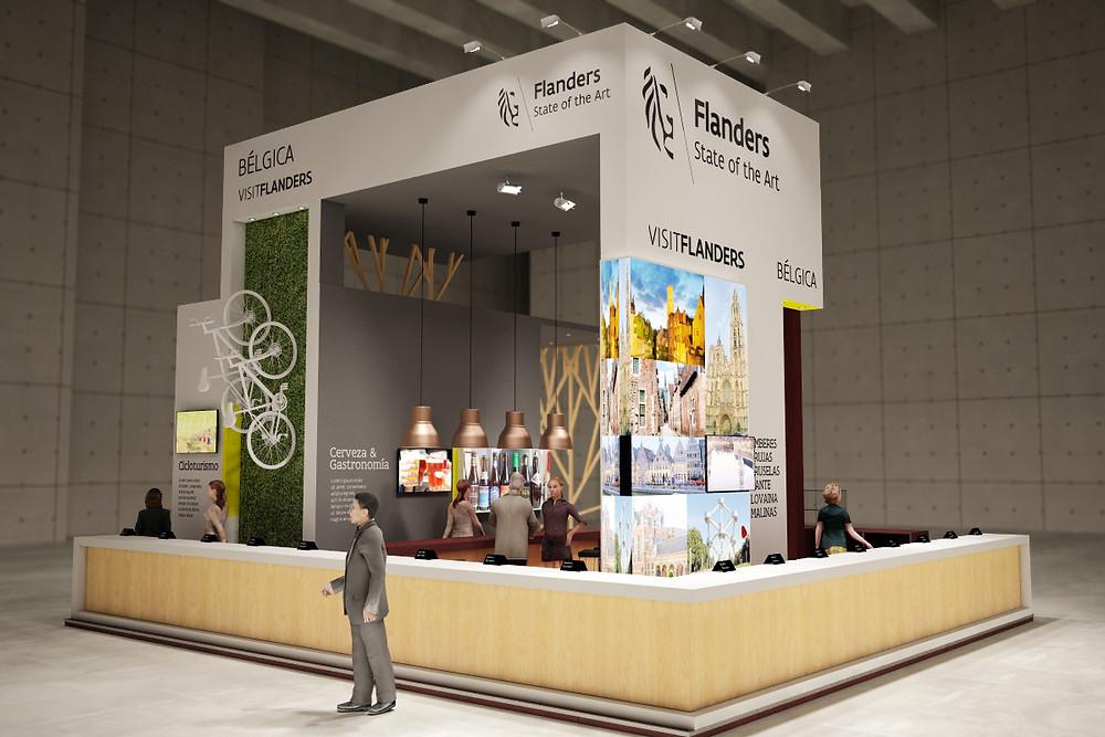 Render de stand de diseño para Flandes en Fitur 2015