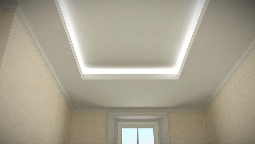 Falso techo de escayola con luz