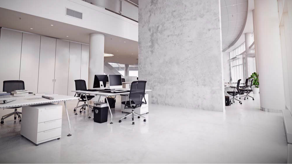 reforma de oficina con colocación de suelo blanco