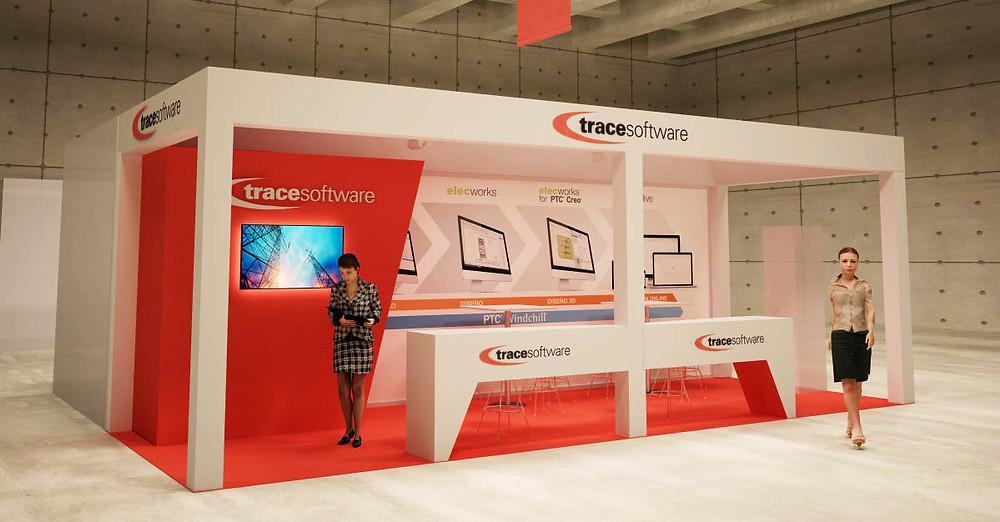 Trace software con una deoración de stands modular