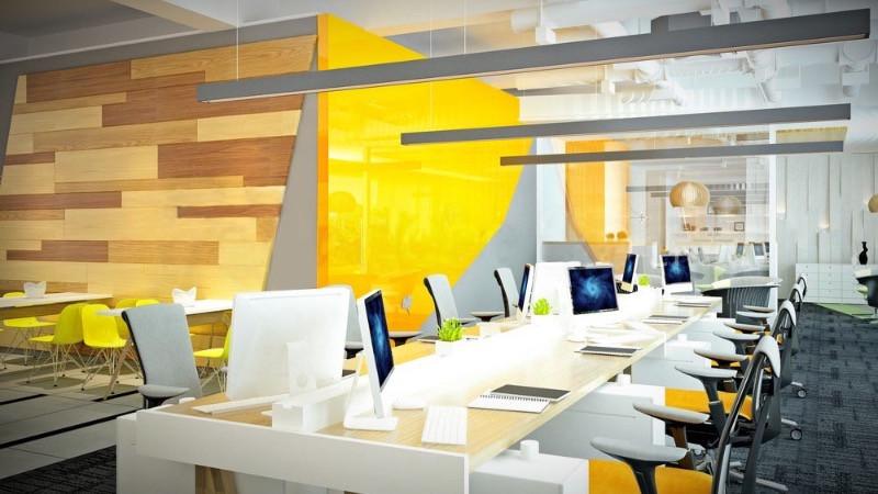 Reforma de oficinas y decoración con paleta de colores monocromática.