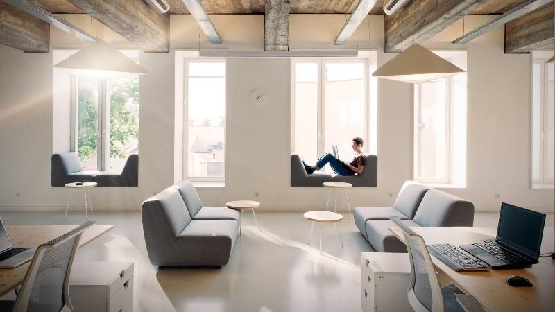 Reforma de oficinas con espacios abiertos y luminosos