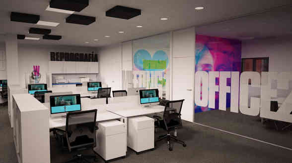 Espacio de trabajo decorado en oficina