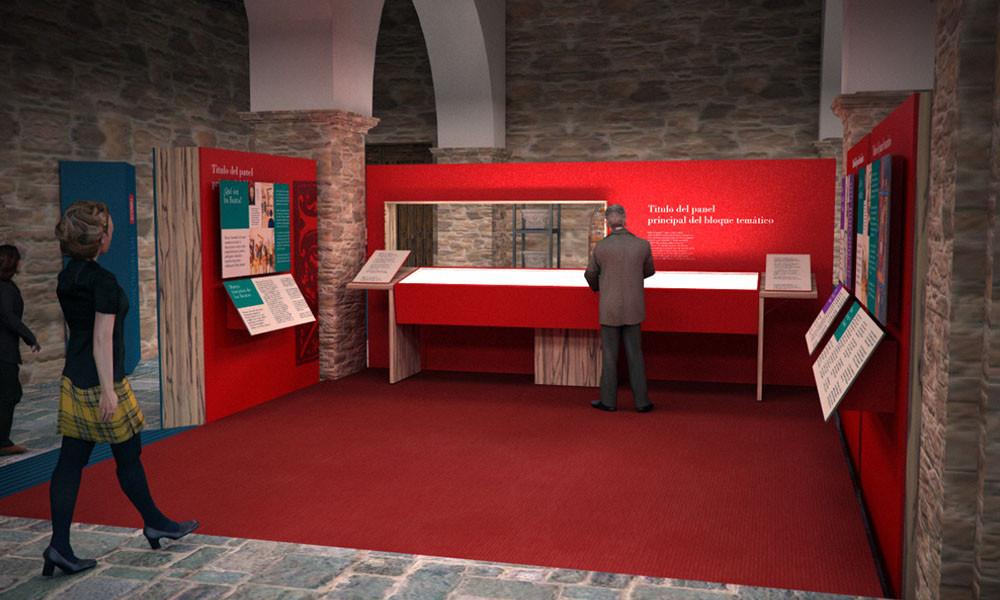 Zona de interior del Centro de interpretación del Beato de Tábara realizado por Decoración de Stands
