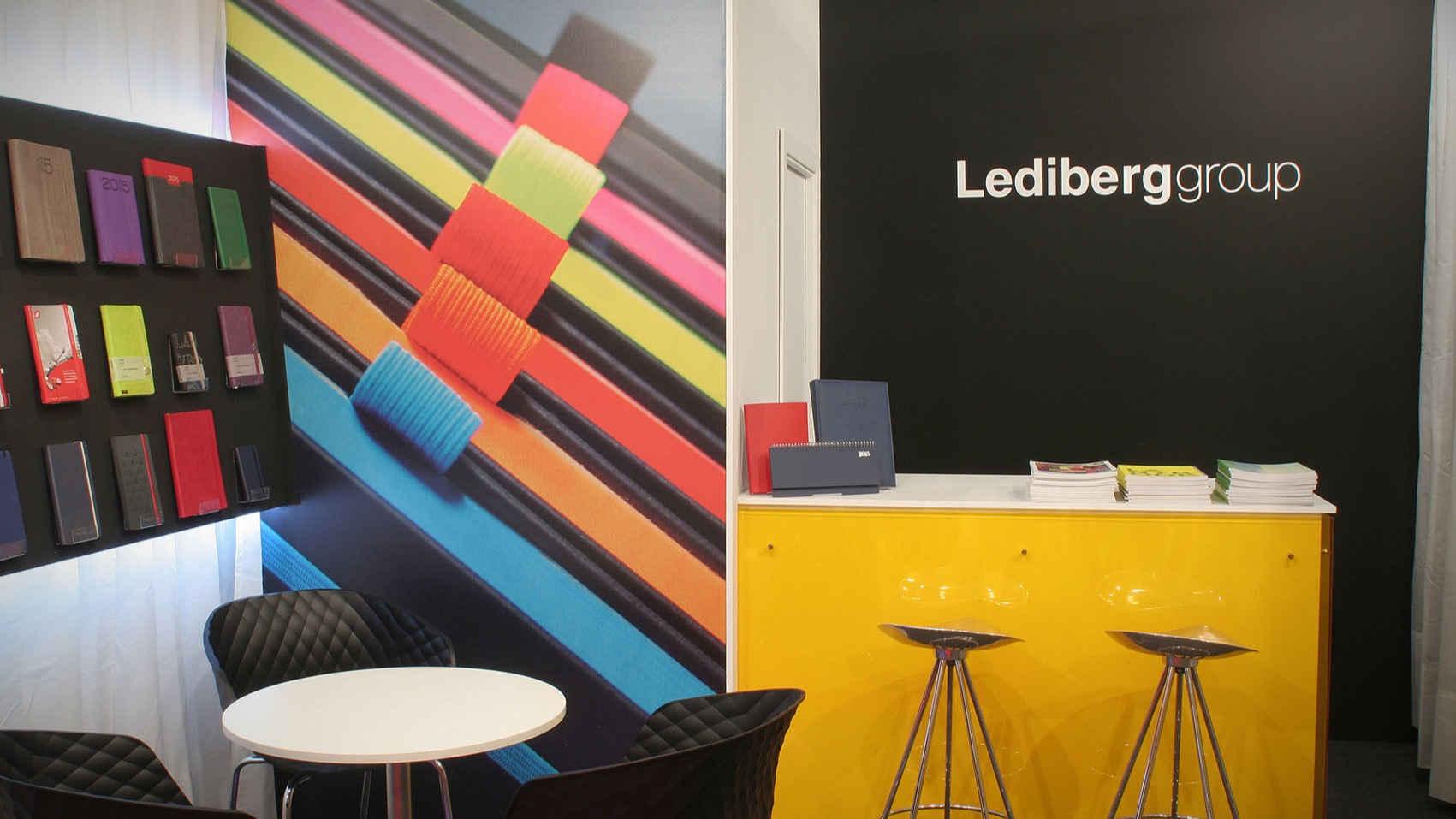 Vista del interior del diseño de stand para Leidberg Group en Promogift 2015