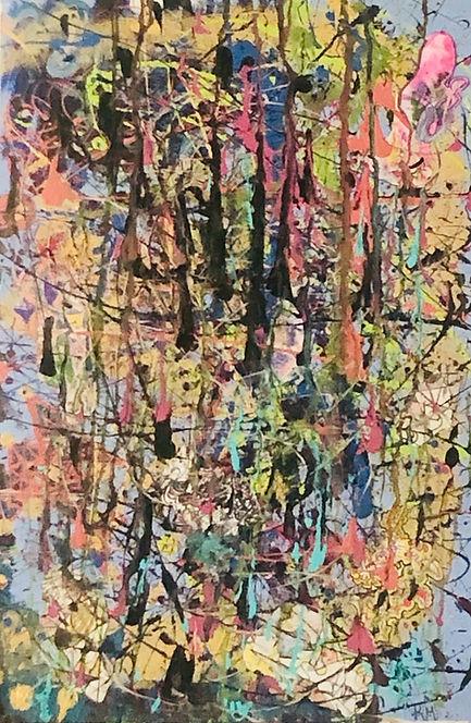 mi arte-canvas splatter mixed media art.