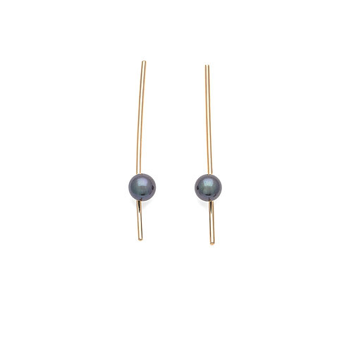 long Pearl 14K gold earrings