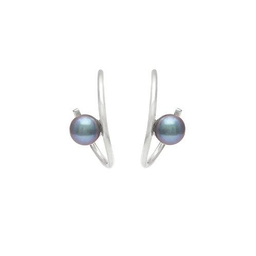no.4 round twist Pearl silver earrings
