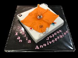 Gâteau d'anniversaire doudou orange