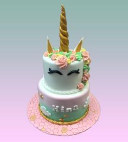 Gâteau d'anniversaire licorne vert d'eau