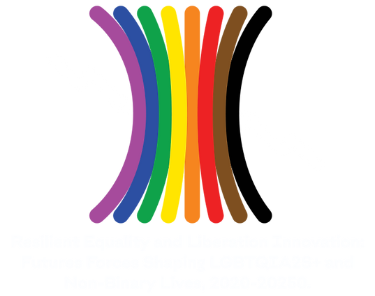 A logo that shows the colors of the expanded pride flag showing their resilience in the face of future forces. The title reads: Resilient Equality and Liberation Innovation: Future Forces Shaping LGBTQIA2S+ and Non-Binary Lives, 2020-2050