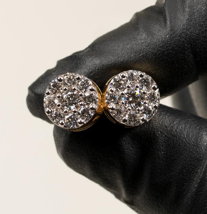 Gold Cluster Earrings Designed By. Tim Da Jeweler