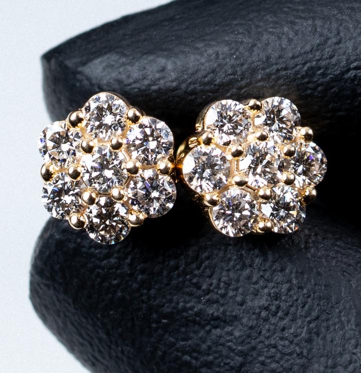 Gold Flower Cluster Earrings