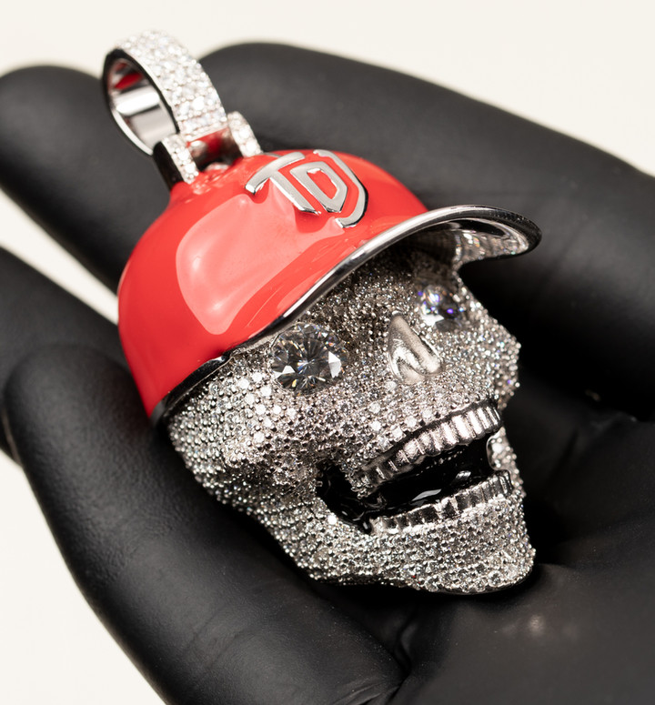 Custom Red TDJ Skull Pendant