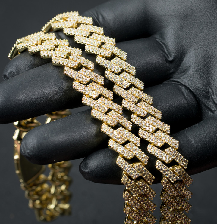Gold Prong Set Cuban Designed By. Tim Da Jeweler