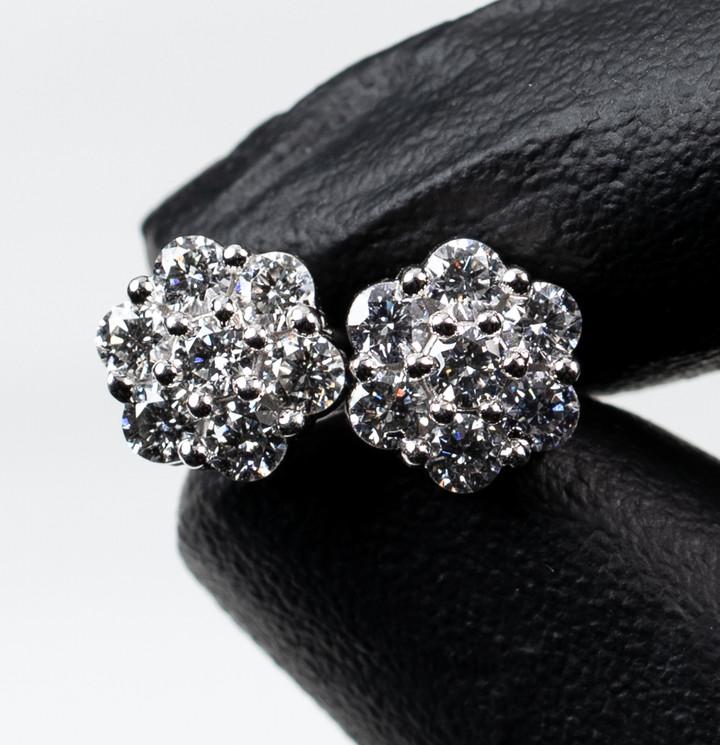 White Gold Flower Cluster Earrings