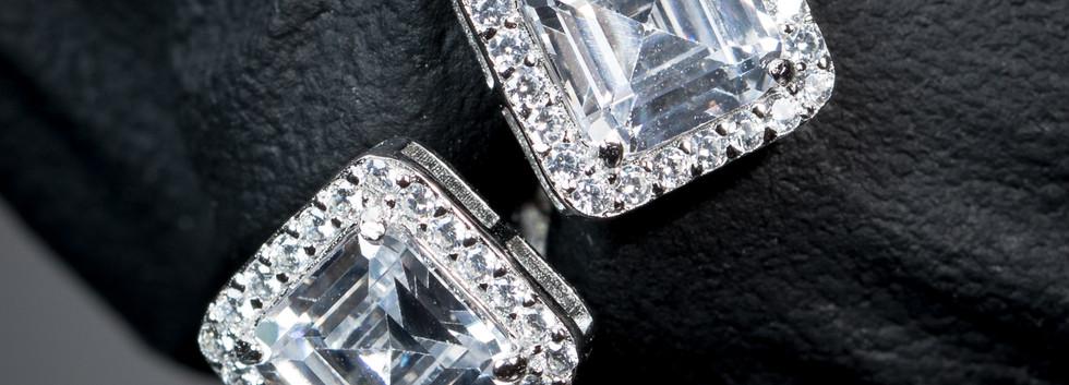 Square Emerald Stud Earrings