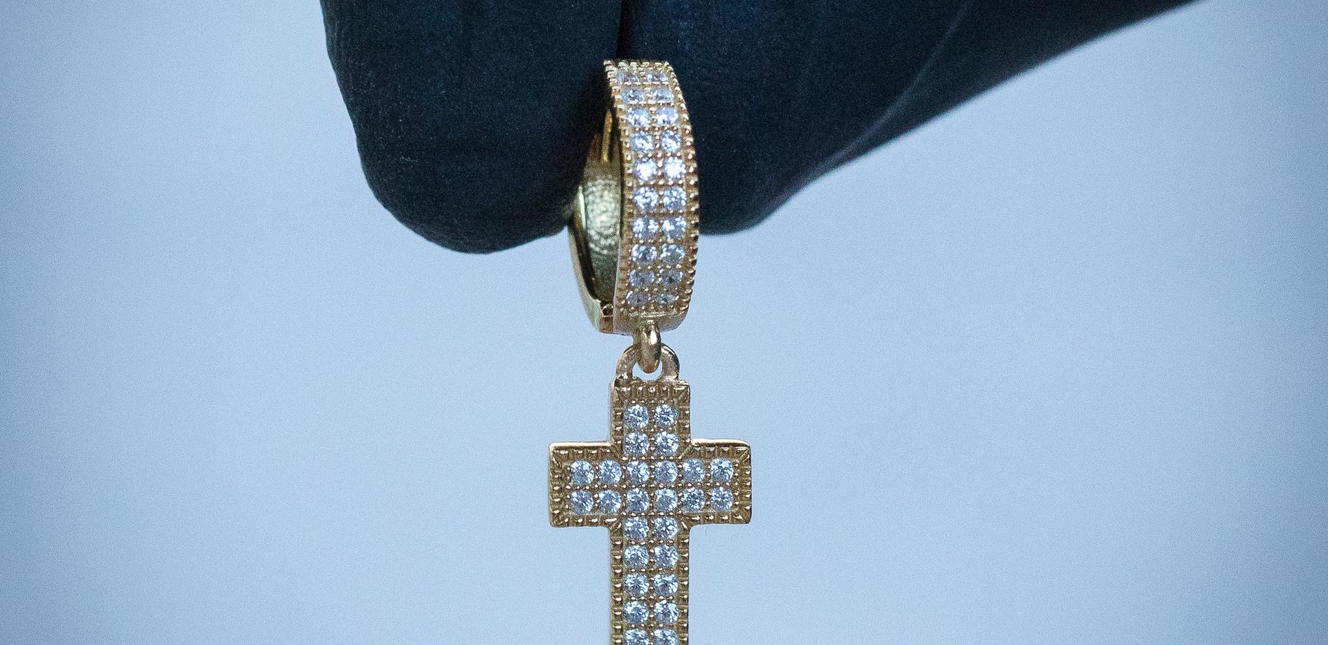 Gold Cross Hoops Designed By. Tim Da Jeweler