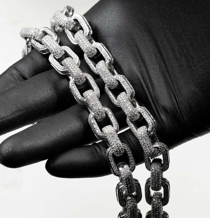Fully Iced Hermes Link Chain