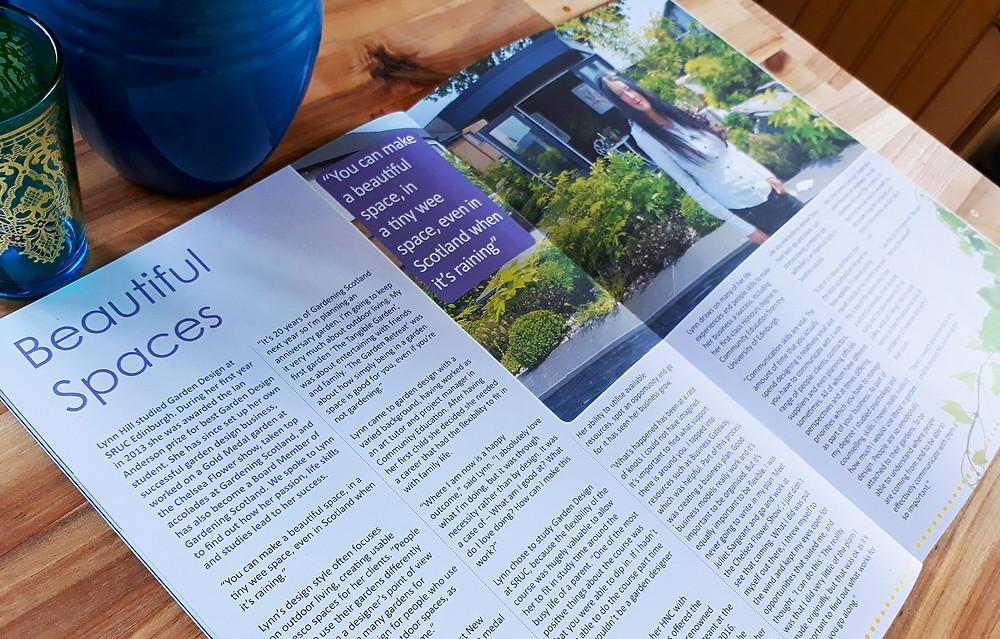 Beautiful Spaces: SRUC Alumni feature Lynn Hill Garden Design to become award winning professional garden designer in Edinburgh.