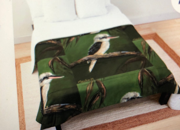 Kookaburra & Gum Leaves Throw Blanket