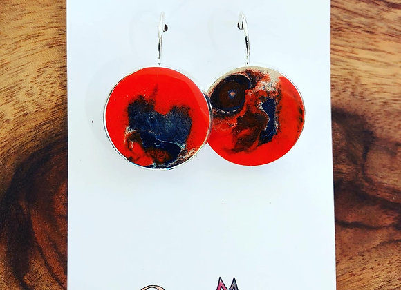 Earthy orange resin drop earrings