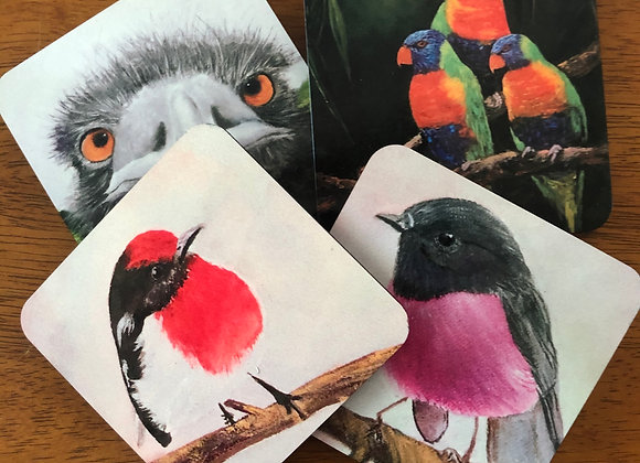 Robins, emu & lorikeet coaster collection