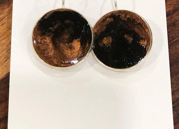 Black & bronze resin drop earrings