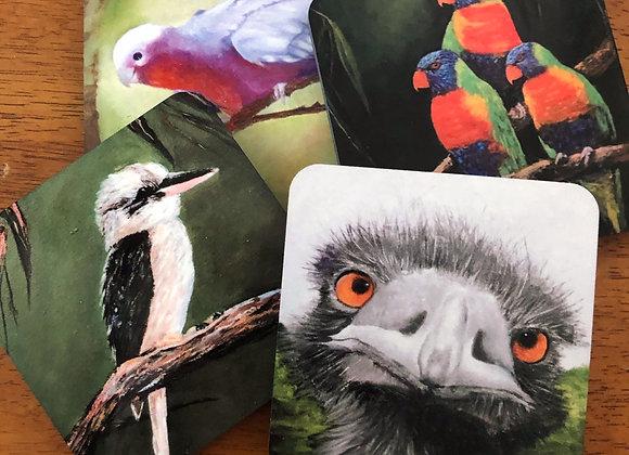 Galah, Lorikeets, Kookaburra & Emu Coaster Collection