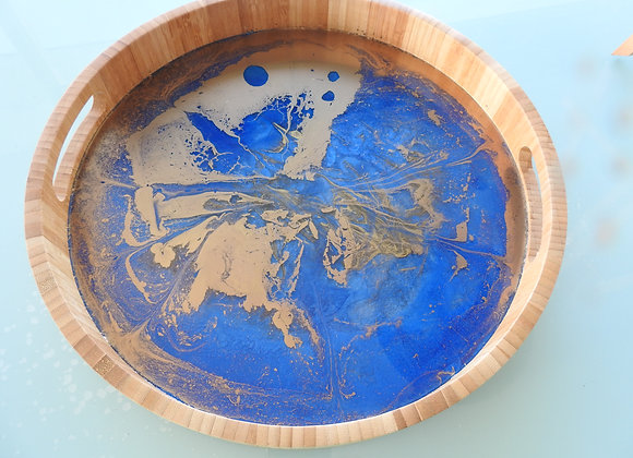 Ocean Blue & Gold Timber Round Tray