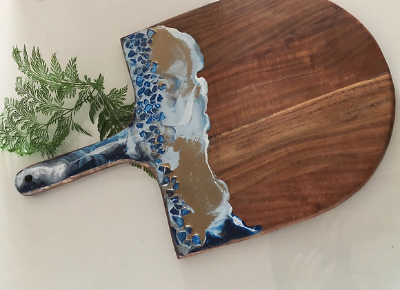 Board - ocean theme featuring gorgeous blue glass chips