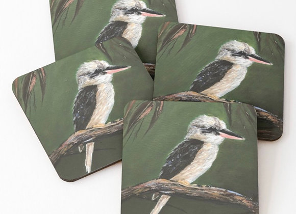Kookaburra & gum leaves coasters
