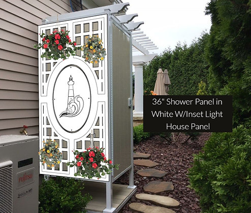 """36"""" Outdoor Decorative Elliptical Shower Panel In White"""