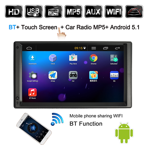 2 Din Android 5.1 Car Radio Player with GPS Navigation 7 inch HD Touch Screen