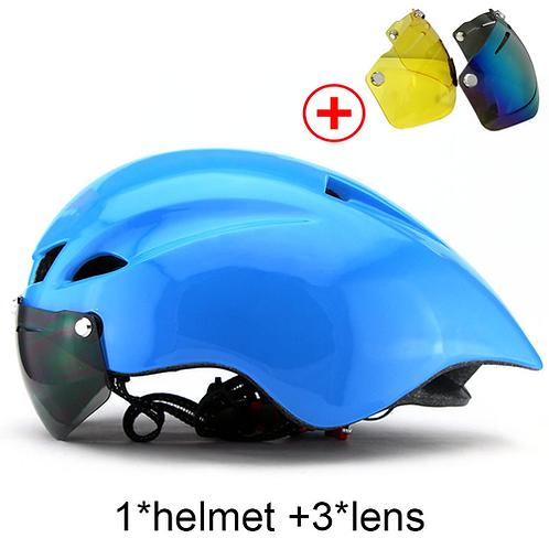 Bicycle Helmet With Glasses 6 Colors Ultralight MTB Road Bike Helmet 56-62cm