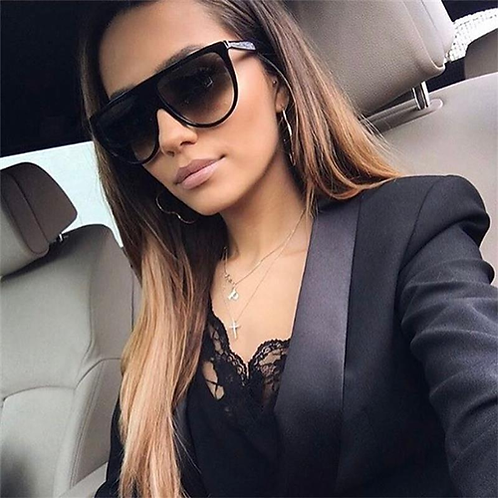 MOLNIYA Oversized Square Sunglasses Women Designer Brand Big one lens mans black