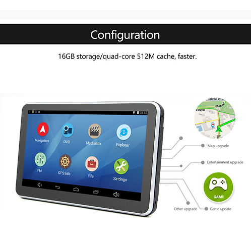 7 inch Car DVR GPS Navigation Android tablet pc Bluetooth wifi fhd 1080p Camera