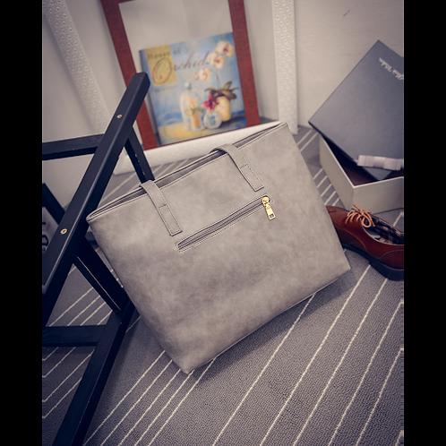 Women Scrub Leather Handbag Black Grey Causal Tote Bag Large Capacity Shoulder b