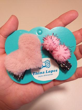 Hair clips coração de Pelúcia