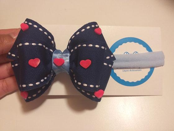 Faixinha Laço Azul com corações