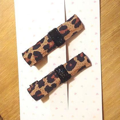 Hair clips animal print