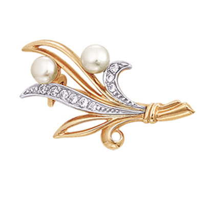 14 Ct Rose Gold Brooch with White Pearl and Cubic Zircon