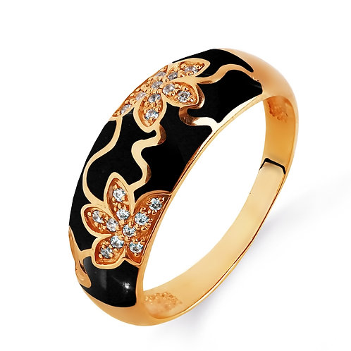 14 Ct Rose Gold Ring with Black Enamel and Cubic Zircon